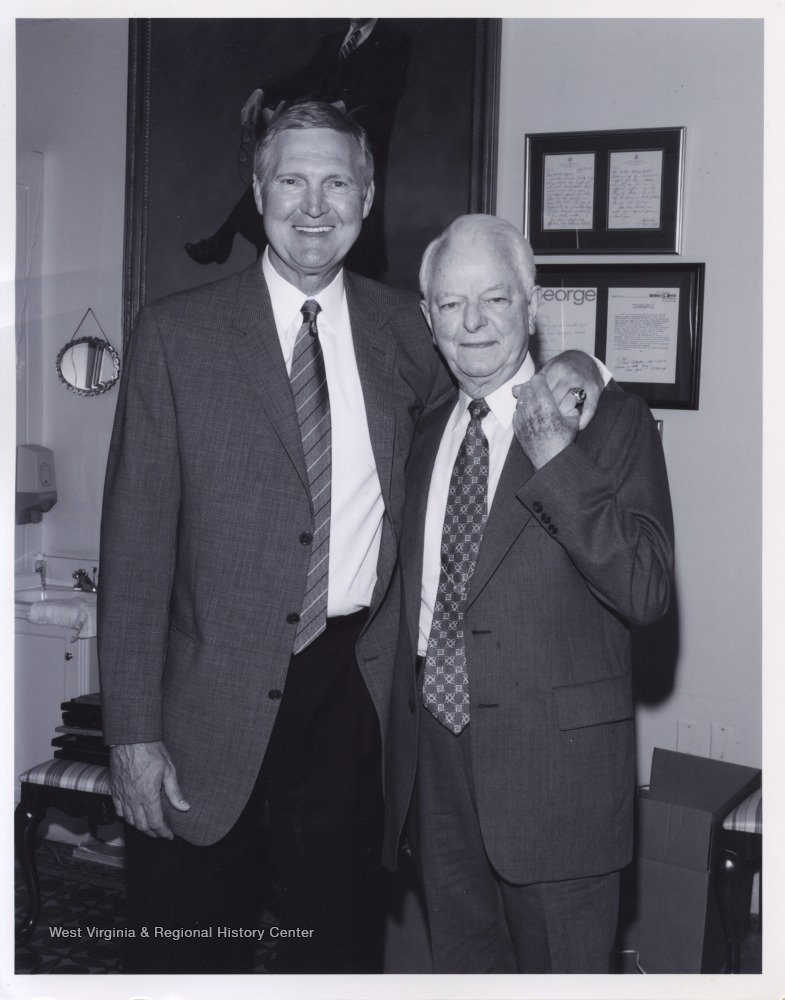 "[""West, left, and Byrd, right, pose together at an unidentified location. Byrd served as a U.S. Senator from 1959 to 2010.""]"