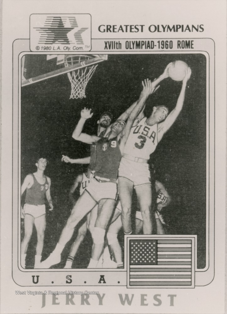 "[""A poster features Jerry West as a part of the XVIIth Olympiad in Rome in 1960. West played on the U.S. men's Olympic Basketball Team which won every game.  West won the gold medal""]"