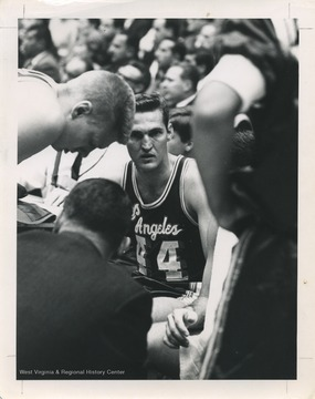 West, No. 44, played for the Los Angeles Lakers basketball team from 1960 to 1974. He was an All-Star every year of his career and led Los Angeles to the NBA Finals nine times.