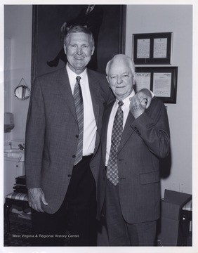 West, left, and Byrd, right, pose together at an unidentified location. Byrd served as a U.S. Senator from 1959 to 2010.