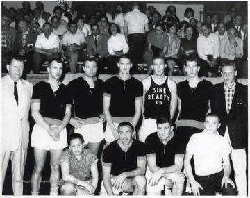 In the top row, from left to right, is Turk Sine, Kenny Mikes, unidentified, Jerry West, unidentified, Frank Knight, and Walter Nook Smittle, Jr.In the bottom row, from left to right, is Larry Sine, Bucky Bolyard, unidentified, and Jon Huffman.