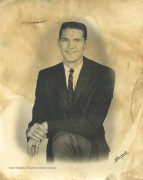 Portrait of the basketball star Jerry West, who played for West Virginia University from 1956-1960 and the Los Angeles Lakers from 1960-1974. In 1960, West played on the United States Olympic basketball team.