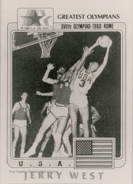 A poster features Jerry West as a part of the XVIIth Olympiad in Rome in 1960. West played on the U.S. men's Olympic Basketball Team which won every game.  West won the gold medal